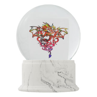 Abstract Fire Breathing Tribal Dragon Snow Globe