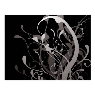 abstract floral black postcard