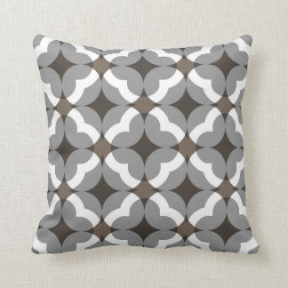 Abstract Floral Clover Pattern in Taupe and Grey Cushion