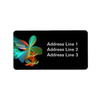 Abstract Floral Fractal Label