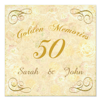 Abstract Floral Golden Anniversary Party 13 Cm X 13 Cm Square Invitation Card