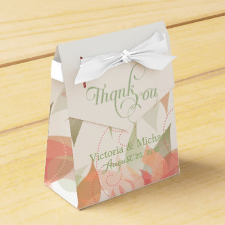 Abstract Floral Orange Ice and Green -2 Wedding Favour Boxes