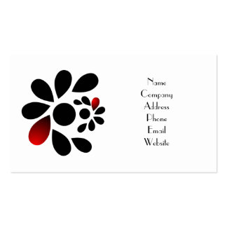 Abstract Floral Red and Black Pack Of Standard Business Cards