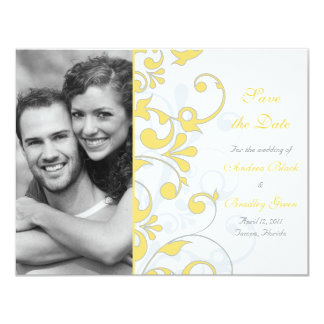 Abstract Floral Save the Date Card 11 Cm X 14 Cm Invitation Card