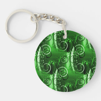 Abstract Floral Swirl Vines Green Girly Gifts Key Ring