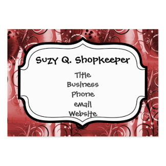Abstract Floral Swirl Vines Red Girly Gifts Business Card Template