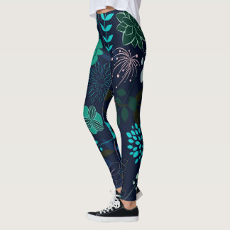 Abstract Flower Patter and Design Leggings