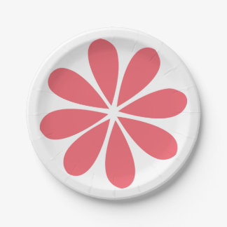 Abstract Flower Pink & White Floral Retro Wedding 7 Inch Paper Plate