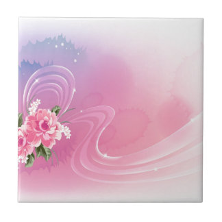 Abstract Flowers Purple Love Ceramic Tile