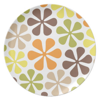 Abstract Flowers Retro Colors Party Plates