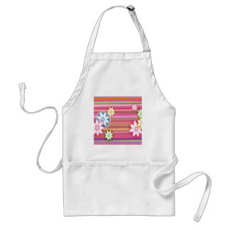 Abstract Flowers Warm Colors Pink Stripes Apron