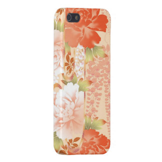 Abstract garden of cream and red peonies iPhone 5 cover