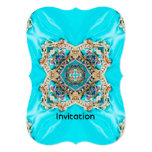 abstract girly Ethnic pattern turquoise bohemian 13 Cm X 18 Cm Invitation Card