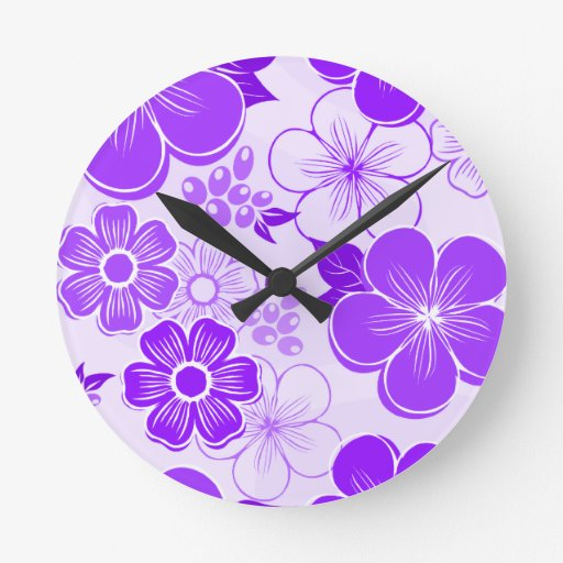 Abstract girly purple flowers round wall clock