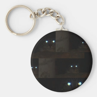 Abstract Glowing Cat Eyes Basic Round Button Key Ring