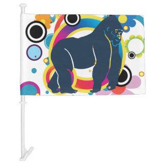 Abstract Gorilla Car Flag