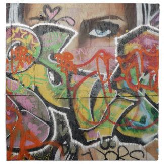 abstract graffiti art mural text type womans face napkin
