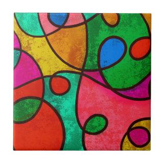 Abstract Graffiti Rainbow Swirls Small Square Tile