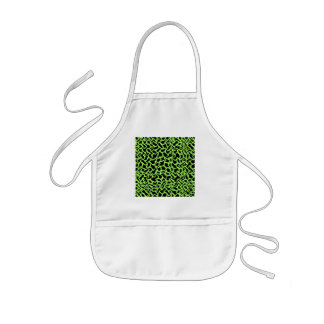 Abstract Graphic Pattern Black and Lime Green. Kids Apron