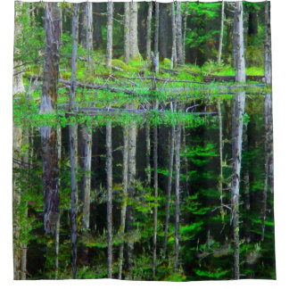 Abstract Green birch tree forest shower curtain
