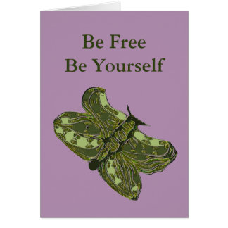 Abstract Green Butterfly Note Card
