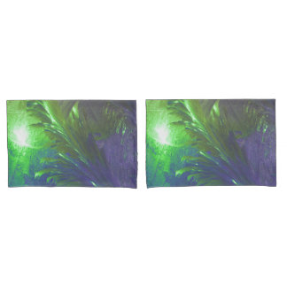 abstract green purple pillow cases