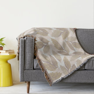Abstract Grey Leaves Throw Blanket