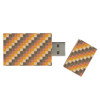Abstract Grid Color Pattern Wood USB 3.0 Flash Drive