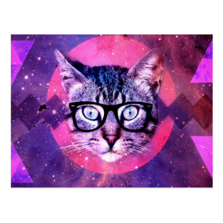 Abstract Hipster Cat Postcard
