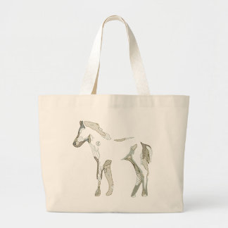 Abstract horse drawing large tote bag