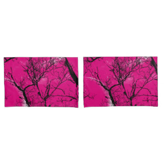 """abstract """"hot pink"""" moon tree pillow cases"""
