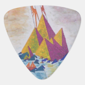 Abstract Island Guitar Picks with mauve back