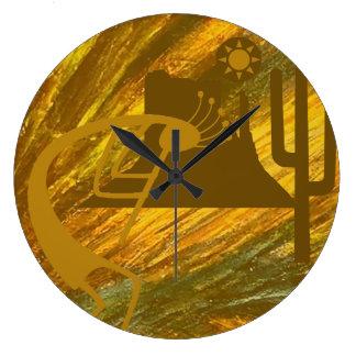 Abstract Kokopelli with Mesa, Cactus & Sun Large Clock