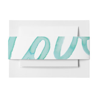 Abstract Love Watercolor Teal Envelope Belly Band Invitation Belly Band