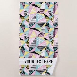 Abstract Memphis Pattern custom text beach towel