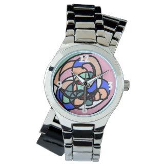 Abstract Modern Art Silver Wraparound Watch