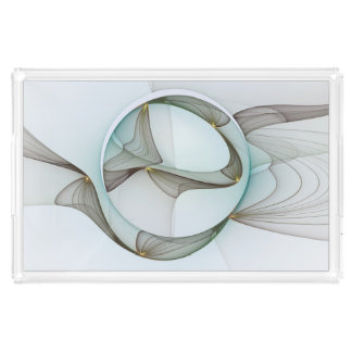 Abstract Modern Turquoise Brown Gold Elegance Acrylic Tray
