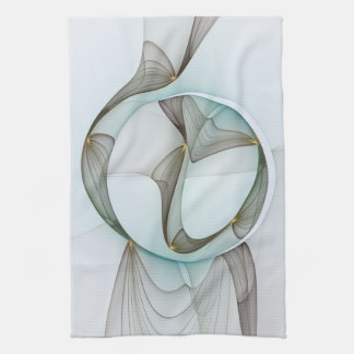 Abstract Modern Turquoise Brown Gold Elegance Tea Towel