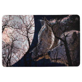 Abstract moon forest  tree floor mat wolf