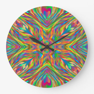 Abstract Multi Color Pattern Large Clock
