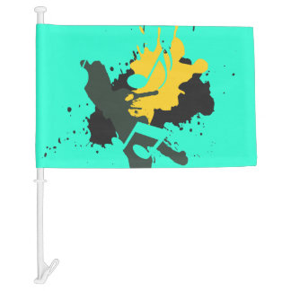 Abstract Musical Notes Car Flag