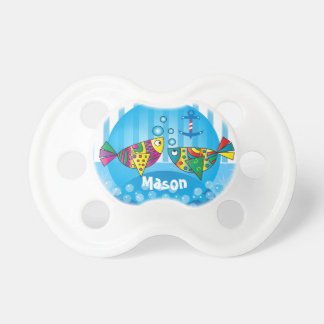 Abstract Nautical Fish Baby Nursery Theme Pacifiers