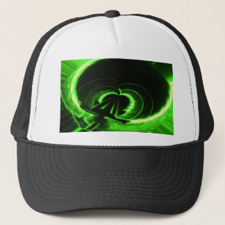 Abstract Neon Green Circle UFO Trucker Hat