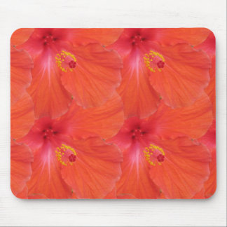 abstract orange hibiscus floral pattern mouse pad