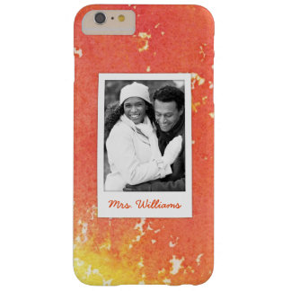 Abstract Painted Orange Watercolor | Add Photo Barely There iPhone 6 Plus Case