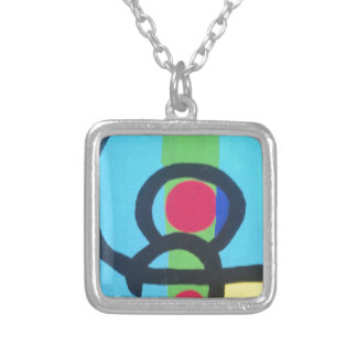 Abstract painting square pendant necklace