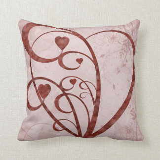 Abstract Patern and Hearts Throw Cushion
