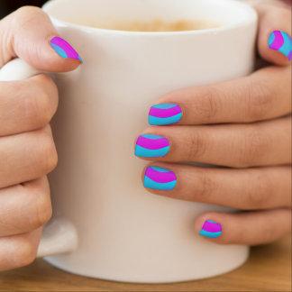 Abstract Pattern Arts - waves pink cyan Nail Sticker