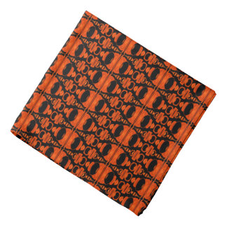 Abstract Pattern Dividers 02 Orange Black Bandana