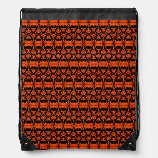 Abstract Pattern Dividers 02 Orange Black Drawstring Bag